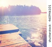 beautiful sunny day on the lake ... | Shutterstock . vector #460946101
