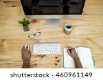 office computer pc  coffee cup  ... | Shutterstock . vector #460961149