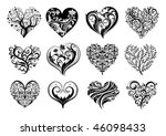 Set Of 12 Tattoo Hearts  Vecto...