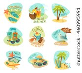 a set of nine emblems on beach... | Shutterstock . vector #460995991