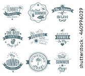a set of nine emblems on beach... | Shutterstock . vector #460996039