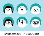 arctic animals flat icons set.... | Shutterstock .eps vector #461002585