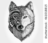 Hand Drawn Wolf Head Zentangle...