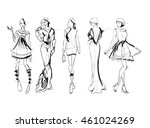 sketch. fashion girls on a...