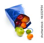 Bag With Fruits Over White