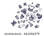 set of floral  pattern with... | Shutterstock .eps vector #461046379