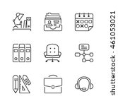 basic office thin line icon set ... | Shutterstock .eps vector #461053021