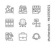 basic office thin line icon set ...   Shutterstock .eps vector #461053021