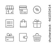 shopping icons set  thin line ... | Shutterstock .eps vector #461053414