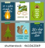 vector set of camping cards.... | Shutterstock .eps vector #461062069
