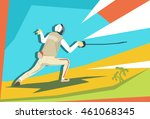 fencing athlete fencer sport... | Shutterstock .eps vector #461068345