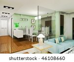 a fashion living room design | Shutterstock . vector #46108660