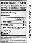 nutrition facts on a water... | Shutterstock . vector #46109383