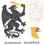 black griffin illustration for... | Shutterstock .eps vector #461099929