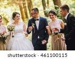 bride and groom with happy...   Shutterstock . vector #461100115