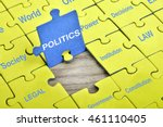 puzzle pieces with word politics | Shutterstock . vector #461110405