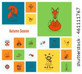 set of flat autumn icons.... | Shutterstock . vector #461111767