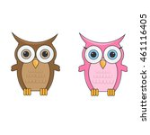 Couple Little Cute Cartoon Owl...