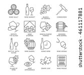 thin line wine icons set... | Shutterstock .eps vector #461117881
