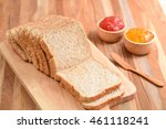 Slices Bread With Fruit Jam On...