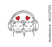Two Cats Listening To Music....