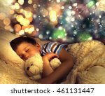 Cute Little Boy Sleeping Under...
