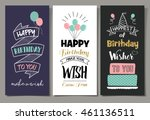 set of birthday greeting cards... | Shutterstock .eps vector #461136511