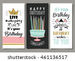 set of birthday greeting cards... | Shutterstock .eps vector #461136517