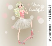 hand drawn beautiful cute girl... | Shutterstock .eps vector #461138119