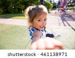 beautiful kid taking selfie in... | Shutterstock . vector #461138971