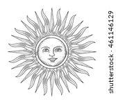 sun with face engraving vector... | Shutterstock .eps vector #461146129