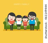 happy family whith parents with ... | Shutterstock .eps vector #461149444