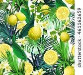 seamless pattern of lemon ... | Shutterstock .eps vector #461162659