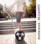young man driving on segway in... | Shutterstock . vector #461164495