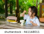 little girls happiness  eating... | Shutterstock . vector #461168011
