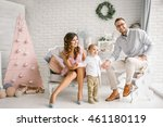 happy father pretty mother and... | Shutterstock . vector #461180119