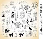 halloween. set of hand drawn... | Shutterstock . vector #461183074