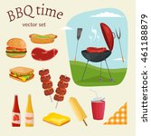 fruit  wine  barbecue  picnic... | Shutterstock .eps vector #461188879