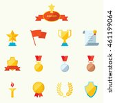 set of flat icons sports awards ... | Shutterstock . vector #461199064