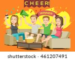 cheer sport in home. party with ... | Shutterstock .eps vector #461207491