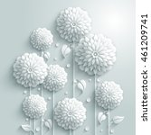 Vector background with decorative white round flowers and drops in 3D white style | Shutterstock vector #461209741