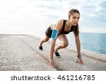 young beautiful sportive girl... | Shutterstock . vector #461216785
