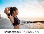 young beautiful sportive girl... | Shutterstock . vector #461218771