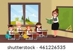 lesson. a teacher with pupils... | Shutterstock .eps vector #461226535
