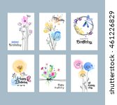 set of hand drawn watercolor... | Shutterstock .eps vector #461226829