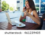 young smiling woman in outdoor... | Shutterstock . vector #461239405