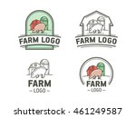 set of farm logos in flat and... | Shutterstock .eps vector #461249587