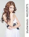 haired girl in a wedding dress...   Shutterstock . vector #461252971