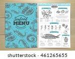 vintage seafood menu design | Shutterstock .eps vector #461265655