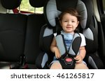 boy sitting in a car in safety... | Shutterstock . vector #461265817